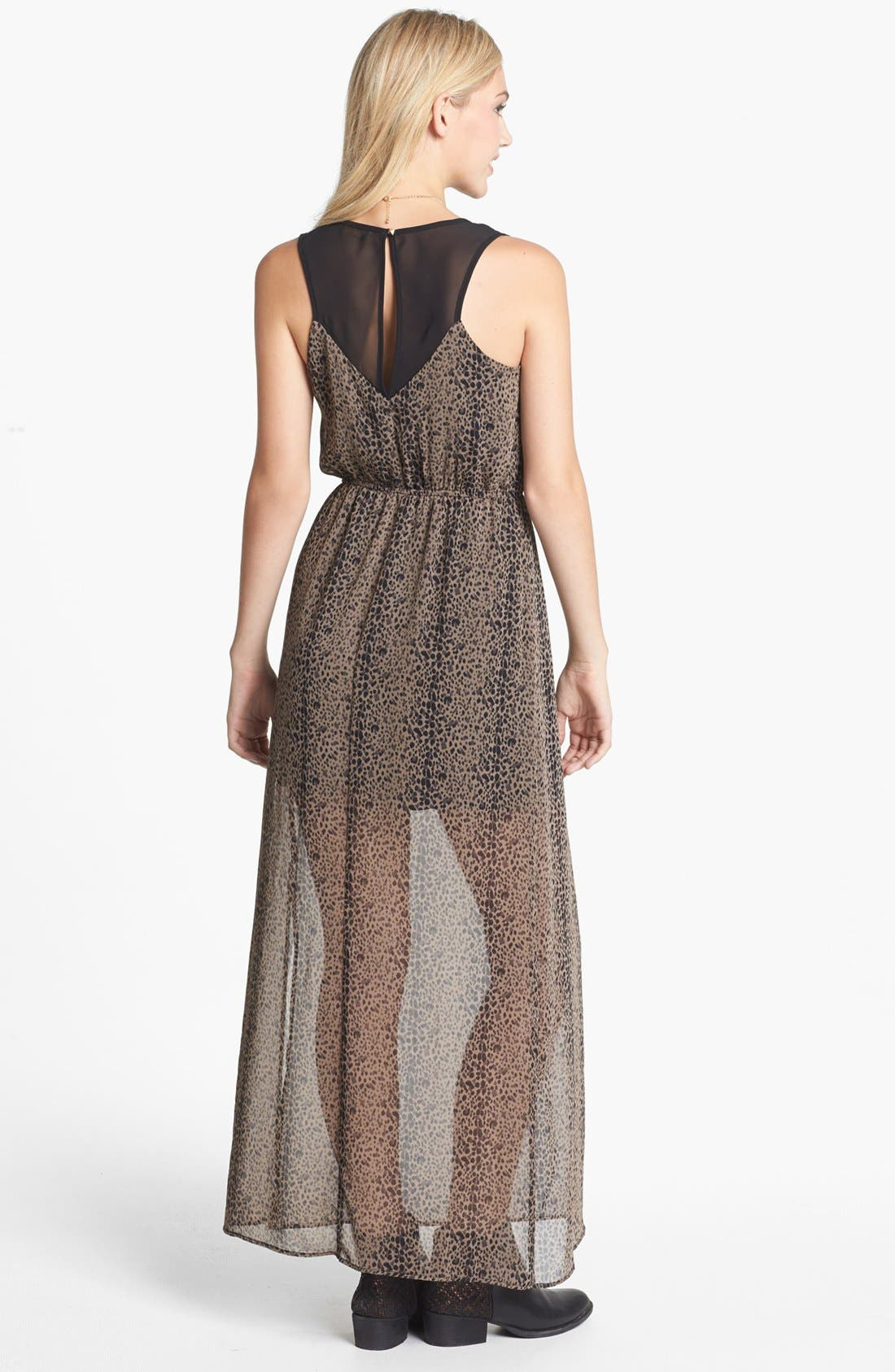 Alternate Image 2  - dee elle Racerback Print Maxi Dress (Juniors)