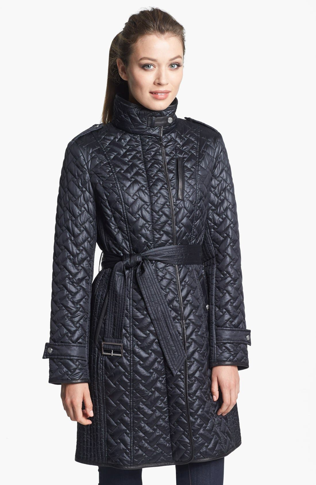 Main Image - Cole Haan Leather Trim Belted Quilted Coat