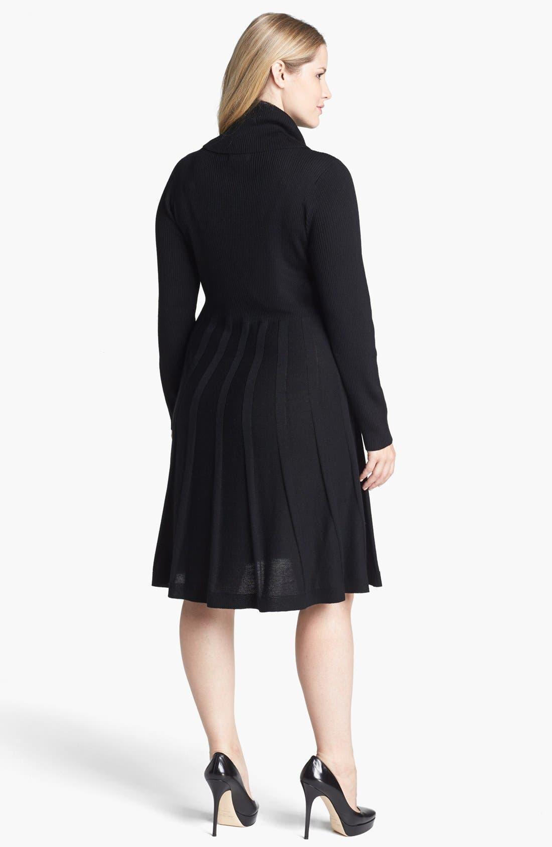 Alternate Image 2  - Calvin Klein Fit & Flare Sweater Dress (Plus Size)