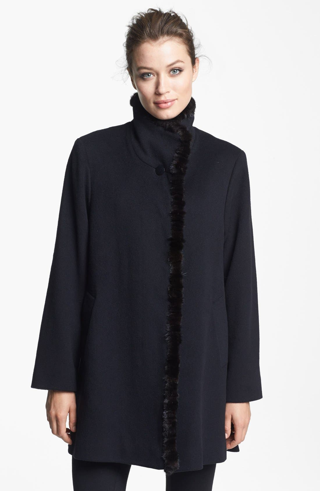 Alternate Image 1 Selected - Fleurette Genuine Mink Fur Trim Loro Piana Wool Coat (Petite)