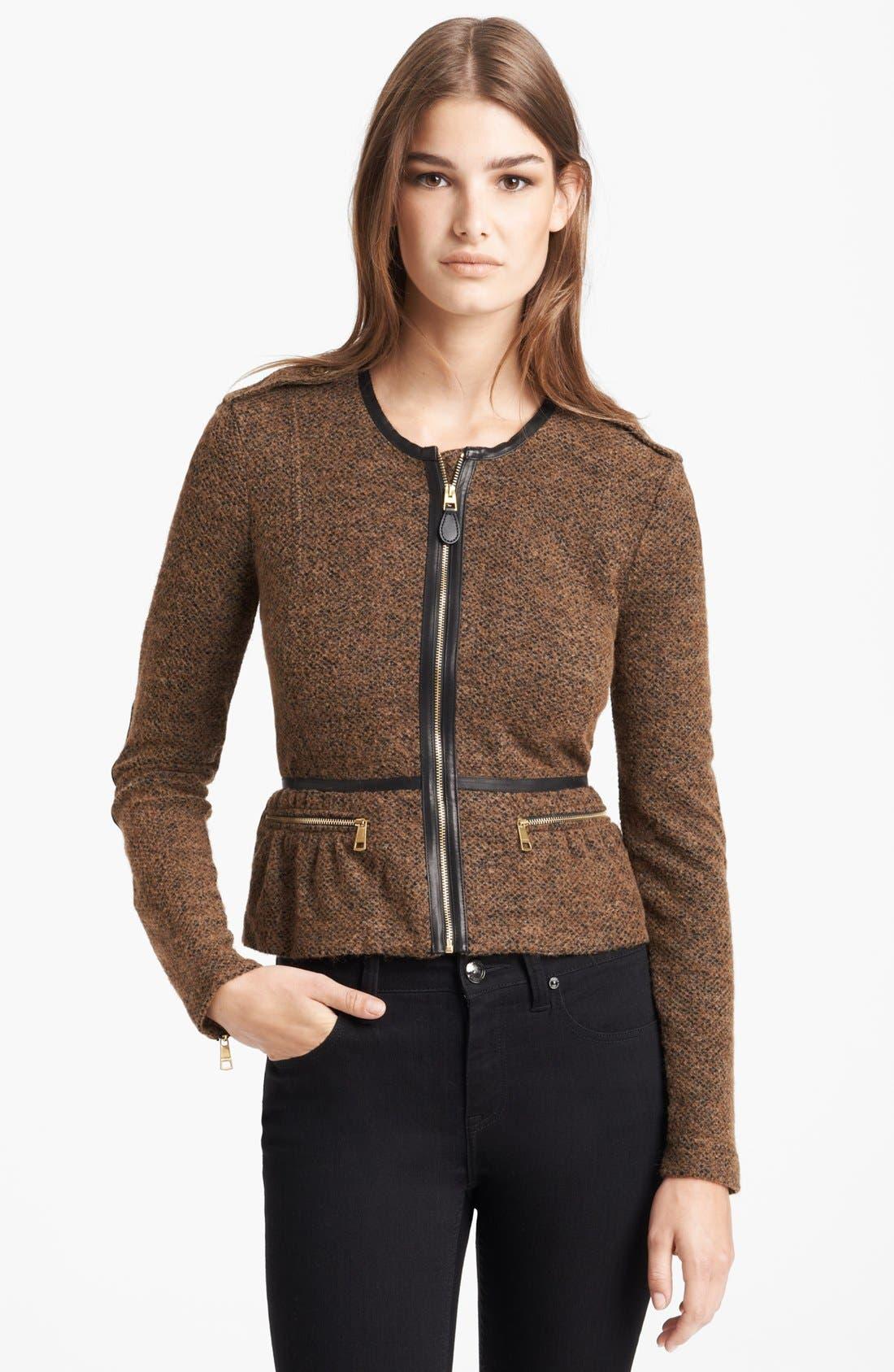 Main Image - Burberry Brit 'Meriden' Leather Trim Peplum Jacket