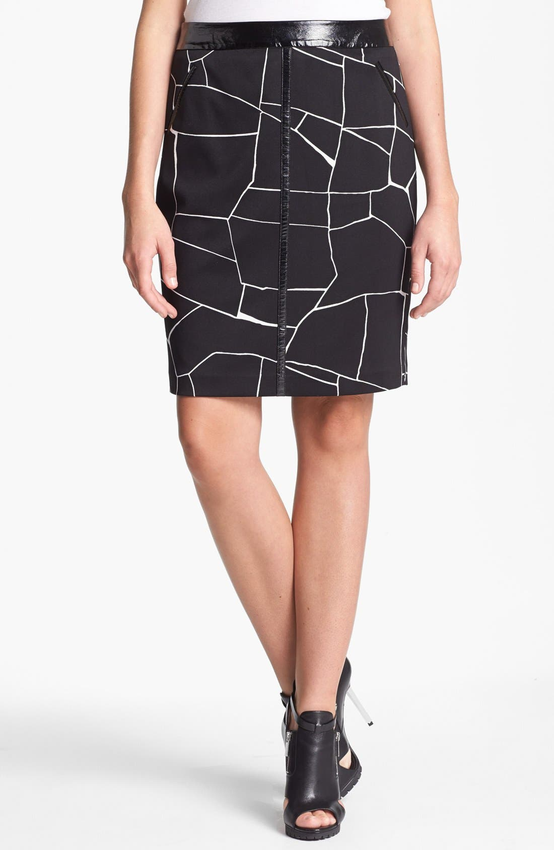 Alternate Image 1 Selected - Vince Camuto Faux Patent Leather Trim Print Pencil Skirt