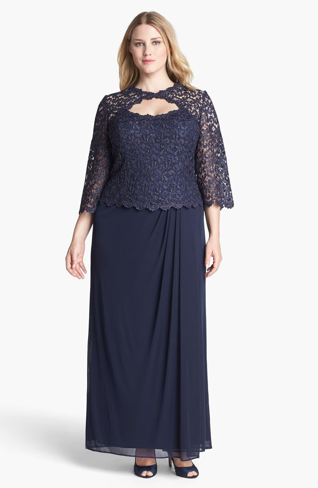 Main Image - Alex Evenings Metallic Lace & Mesh Gown (Plus Size)