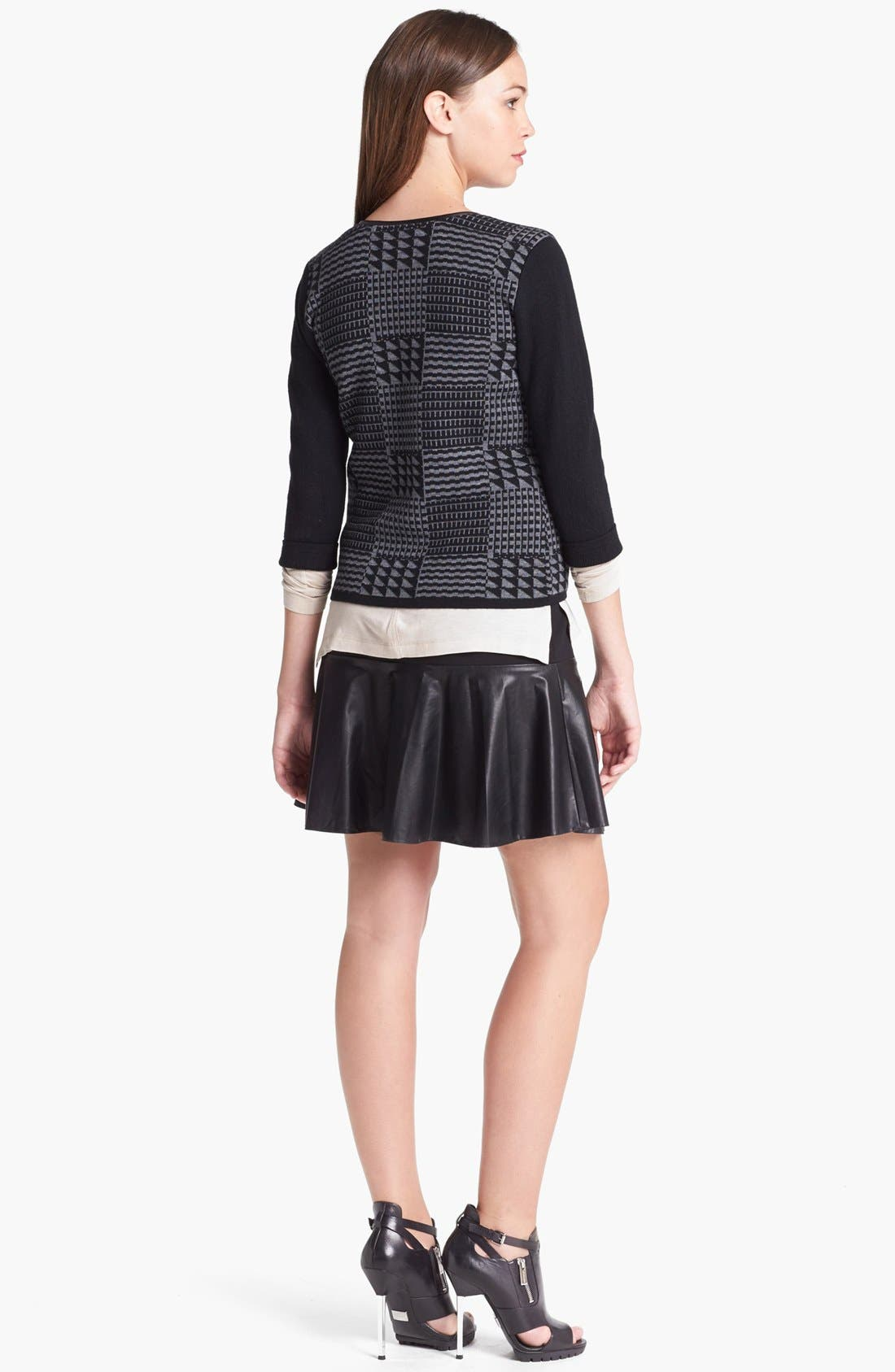 Alternate Image 4  - Halogen® Faux Leather Trim Sweater Jacket  (Regular & Petite)