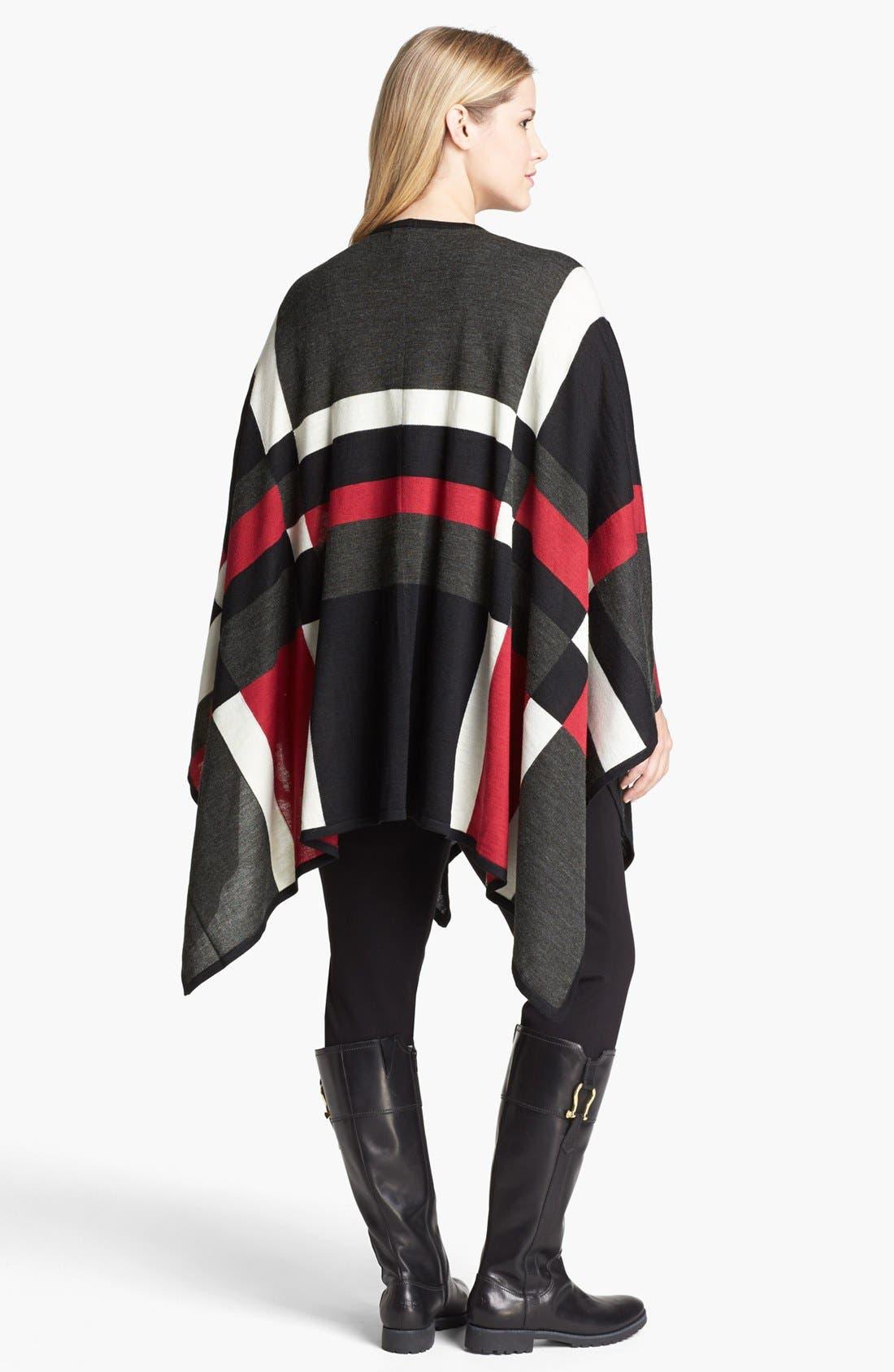 Alternate Image 2  - Foxcroft Plaid Poncho Sweater (Plus Size)