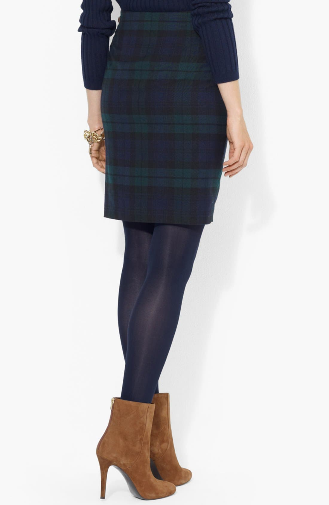 Alternate Image 2  - Lauren Ralph Lauren Leather Trim Plaid Pencil Skirt