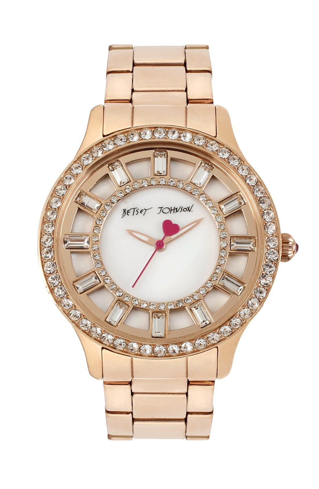 Alternate Image 1 Selected - Betsey Johnson Crystal Accent Bracelet Watch, 40mm