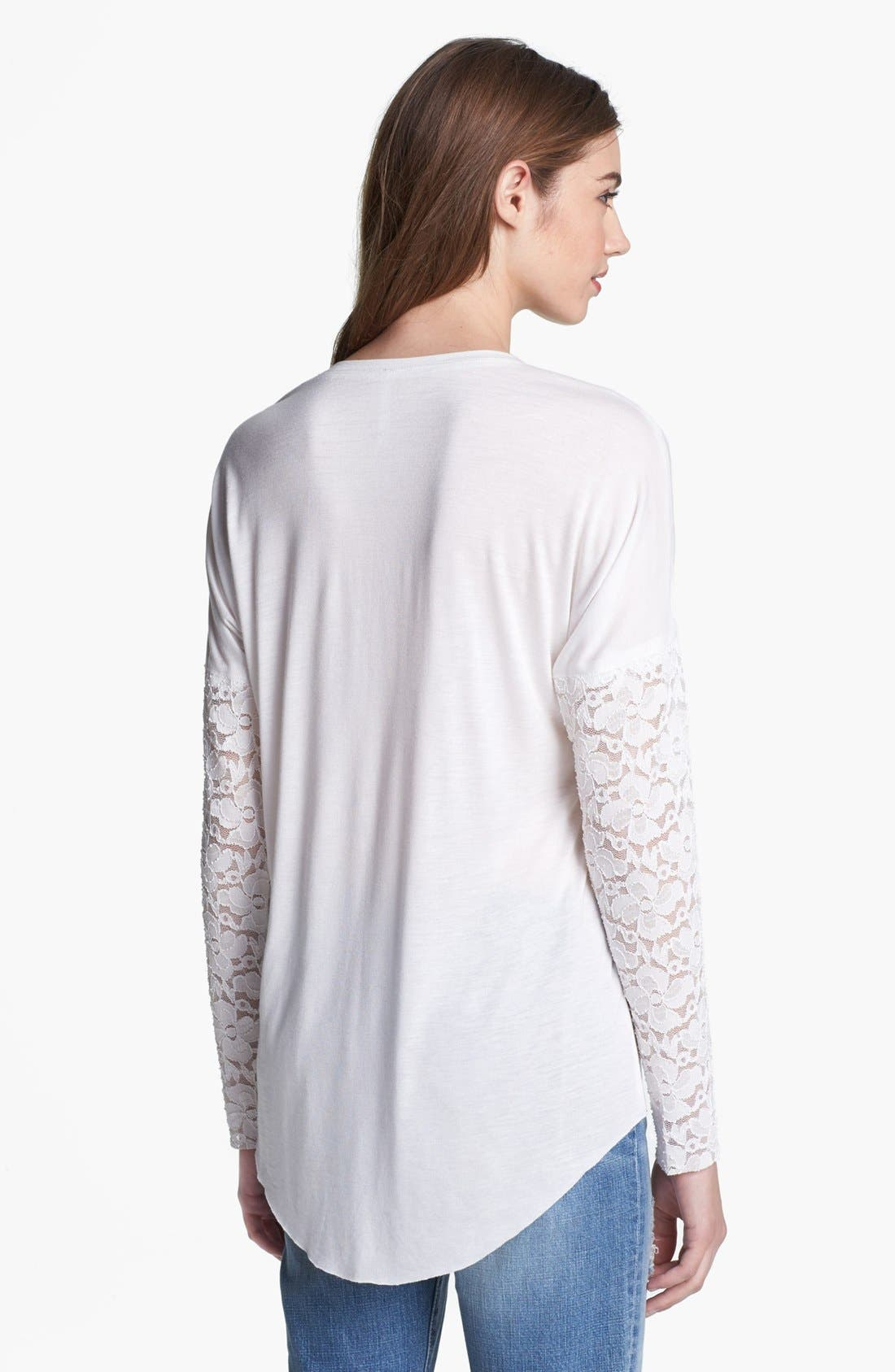Alternate Image 2  - Max & Mia Drop Shoulder Lace Sleeve Tee