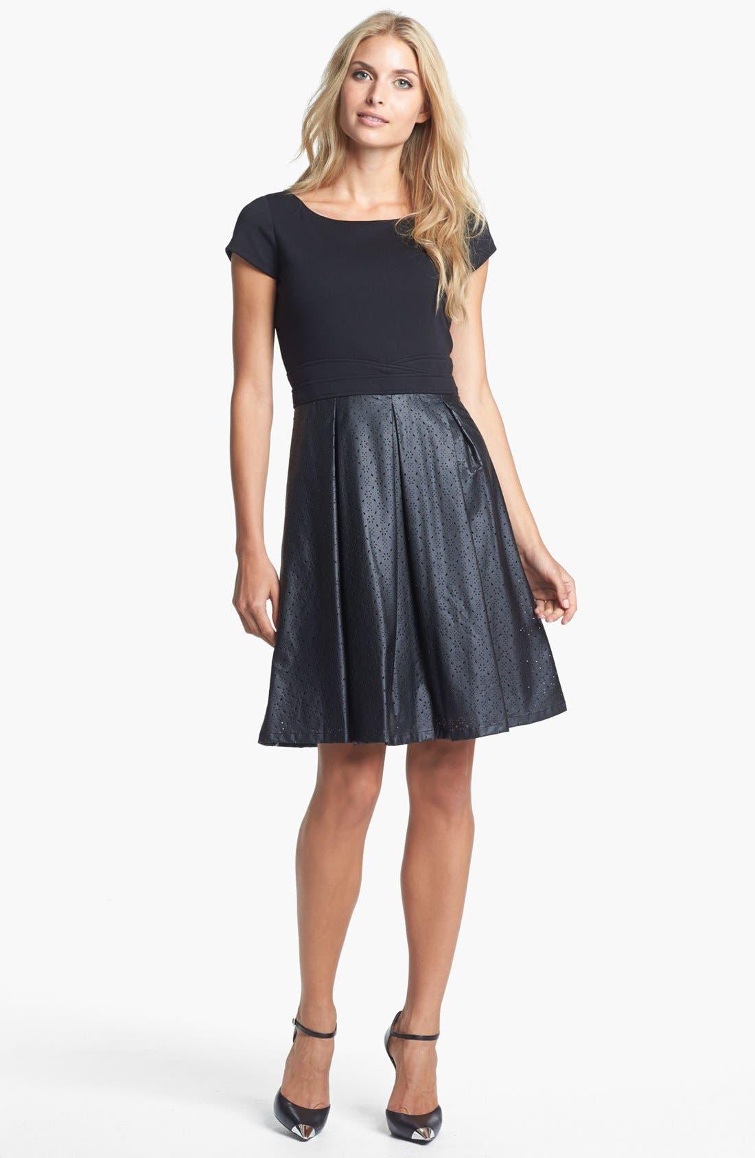 Main Image - Ellen Tracy Mixed Media Fit & Flare Dress