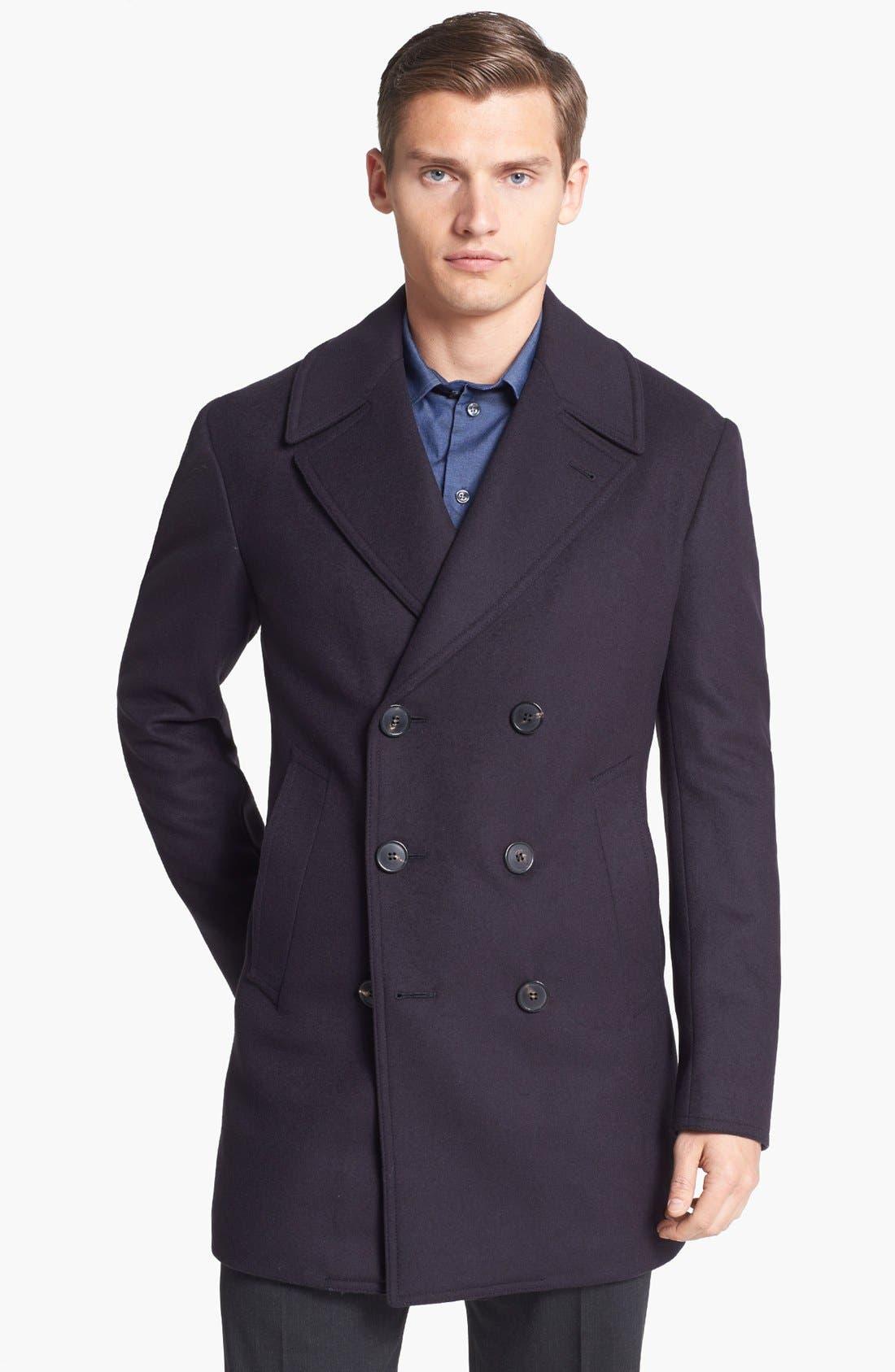 Main Image - Armani Collezioni Wool Blend Peacoat