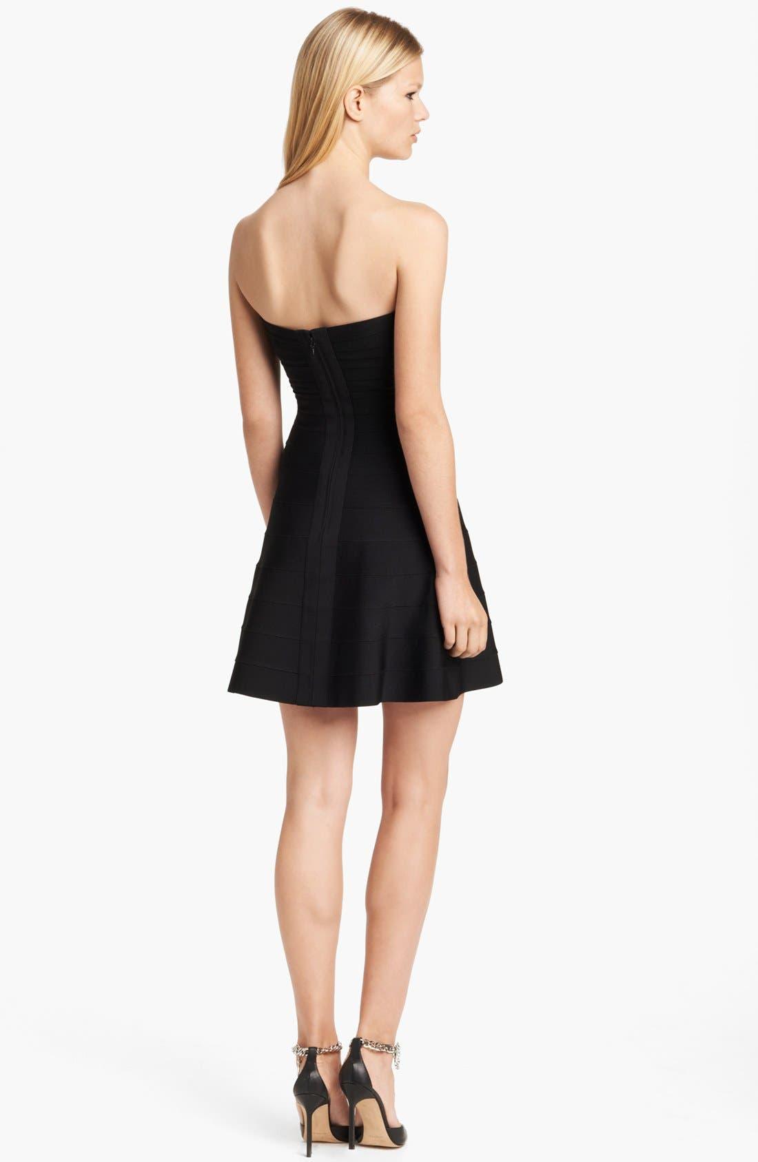 Alternate Image 2  - Herve Leger Strapless Flare Skirt Dress