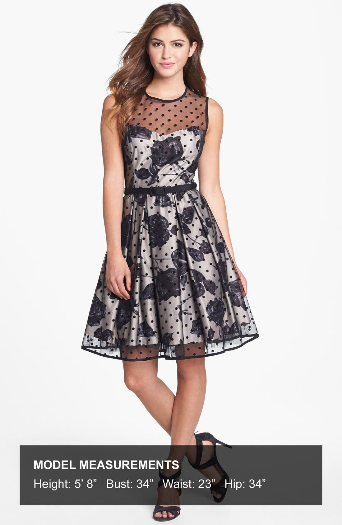 Alternate Image 4  - Eliza J Illusion Dot Print Fit & Flare Dress