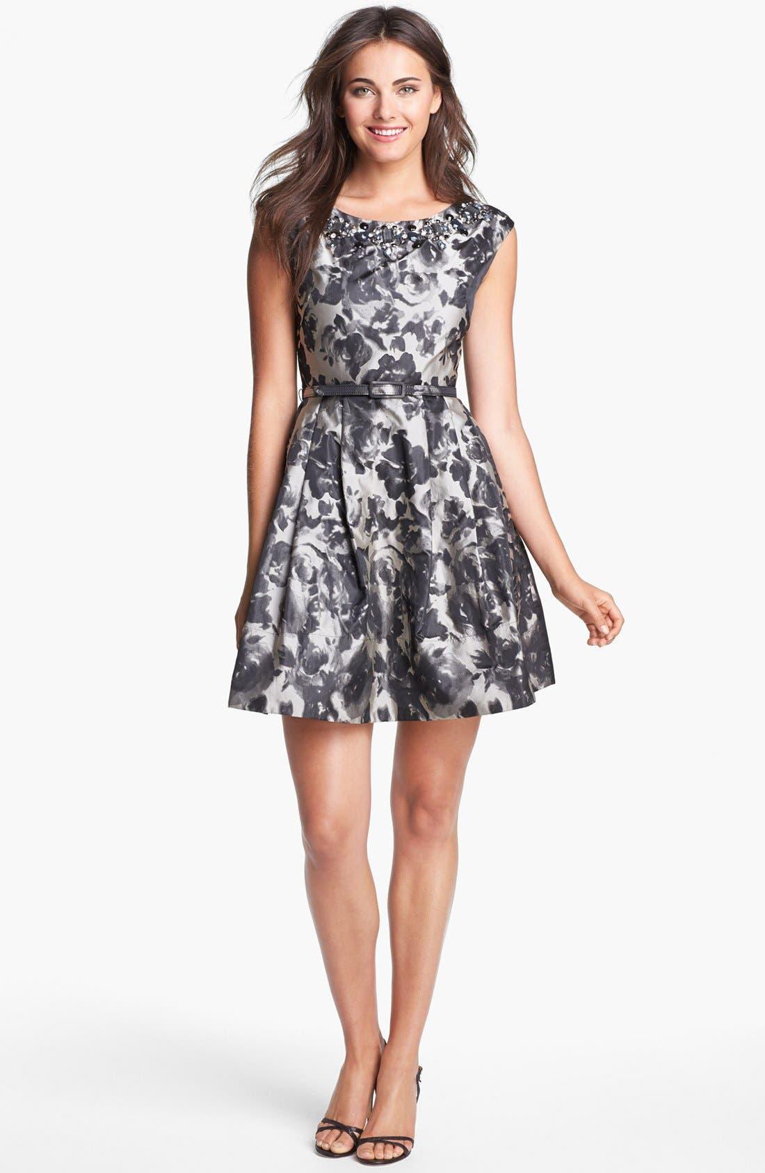 Alternate Image 1 Selected - Eliza J Embellished Jacquard Fit & Flare Dress (Regular & Petite)