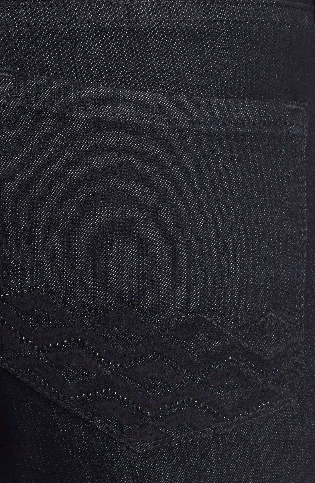 Alternate Image 3  - NYDJ 'Barbara' Embellished Pocket Stretch Bootcut Jeans (Dark Enzyme)