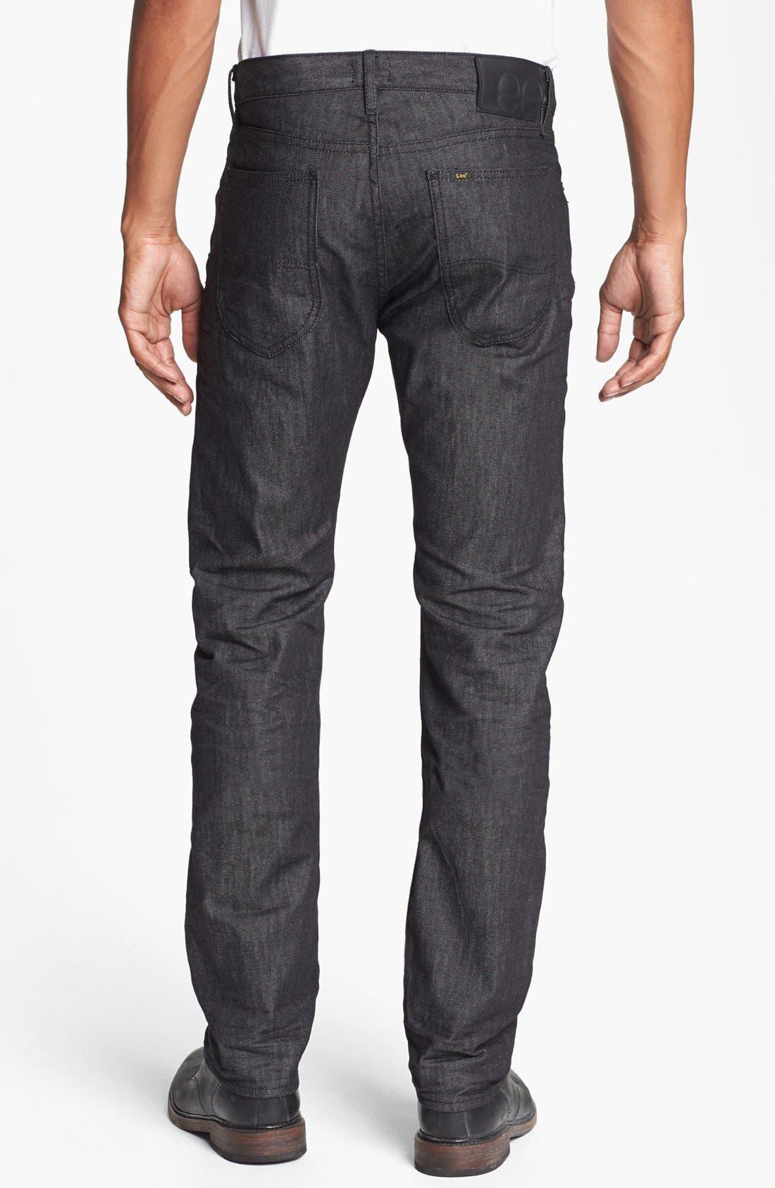 Alternate Image 2  - Lee 101 USA 'Lean' Straight Leg Jeans (Black Wet)
