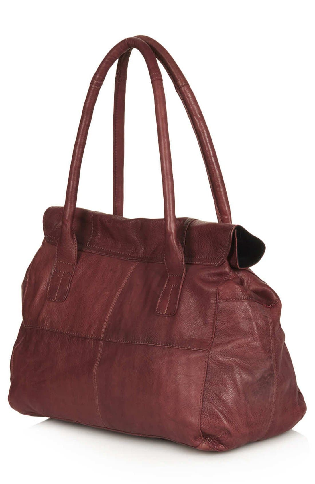 Alternate Image 4  - Topshop Roll Top Leather Tote Bag