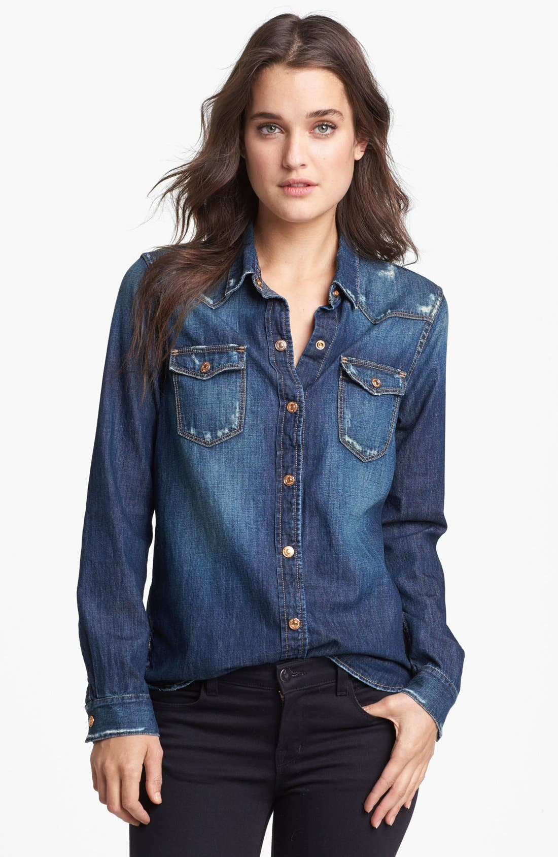 Alternate Image 1 Selected - 7 For All Mankind® Distressed Slim Western Shirt