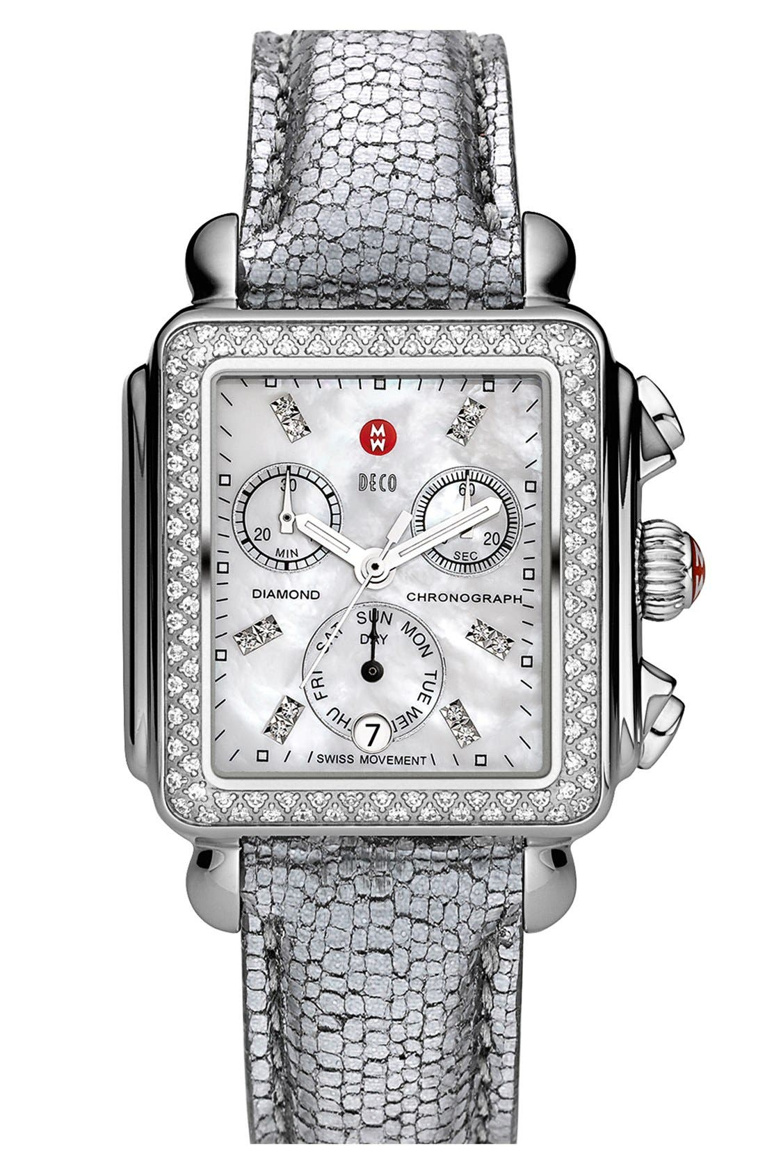 Alternate Image 2  - MICHELE 'Deco Diamond' Customizable Watch