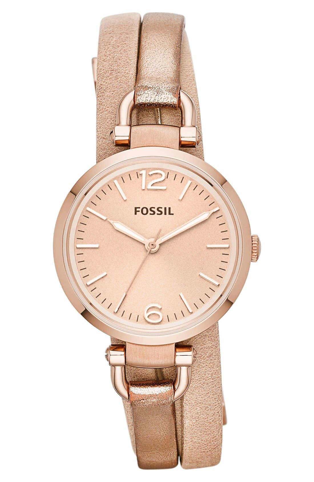 Main Image - Fossil 'Georgia' Faux Wrap Watch, 32mm