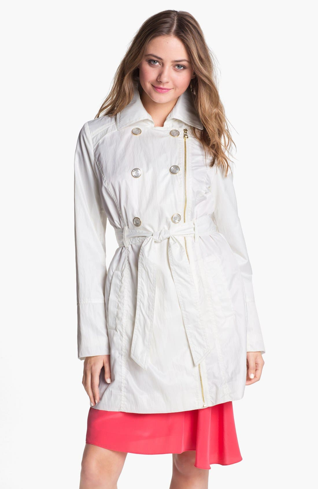 Main Image - GUESS Cinch Waist Trench Coat (Petite)