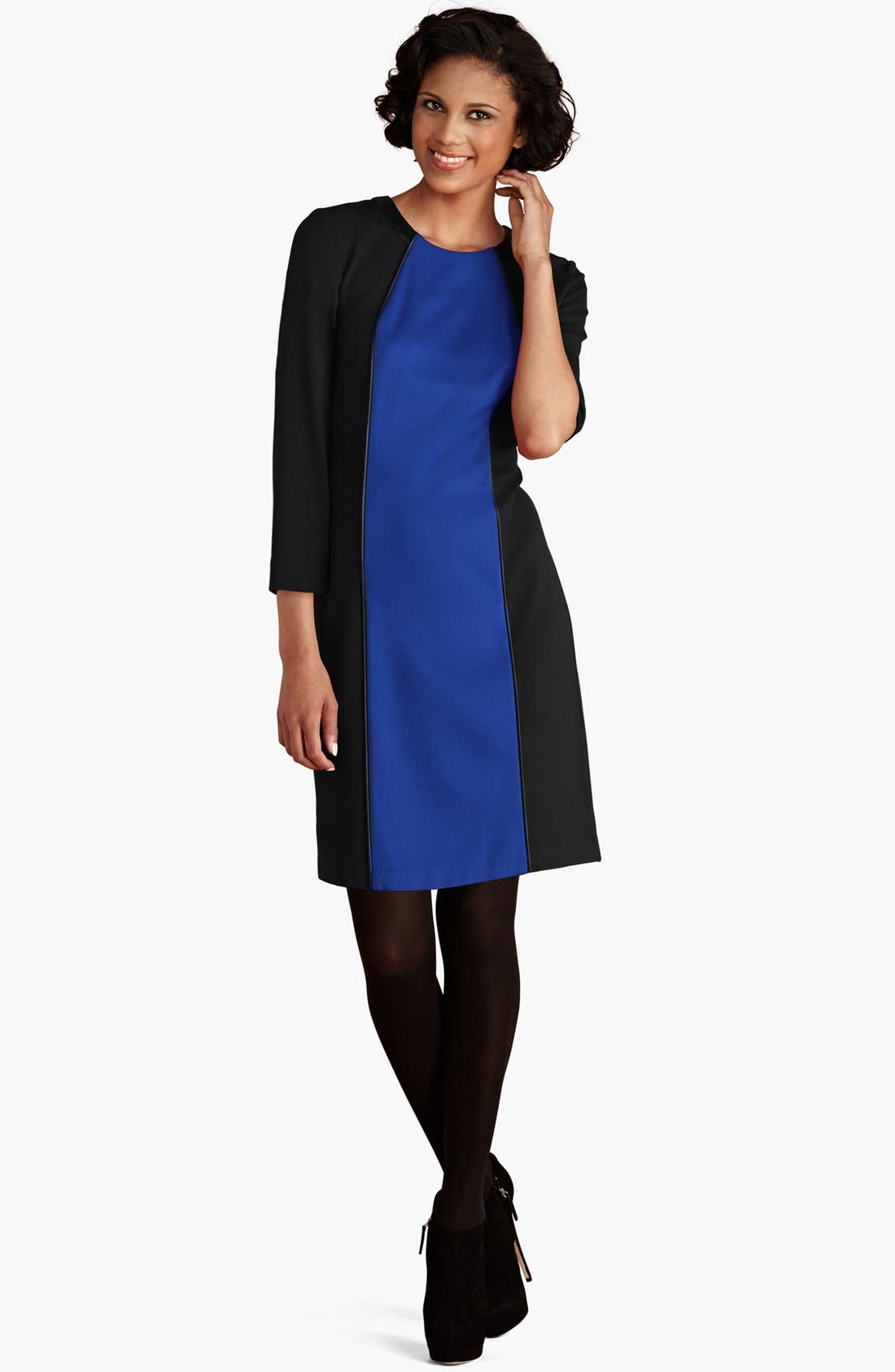 Main Image - Donna Morgan Faux Leather Trim Colorblock Dress