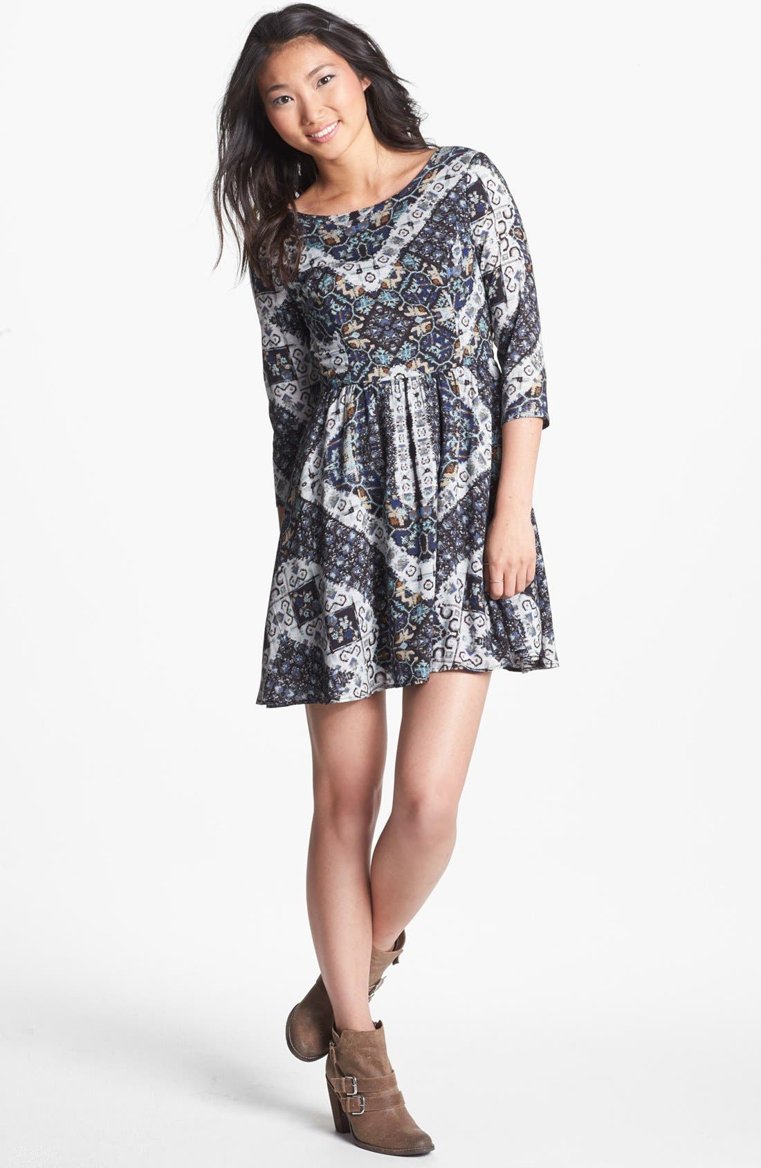 Main Image - Lush Lace Up Skater Dress (Juniors)