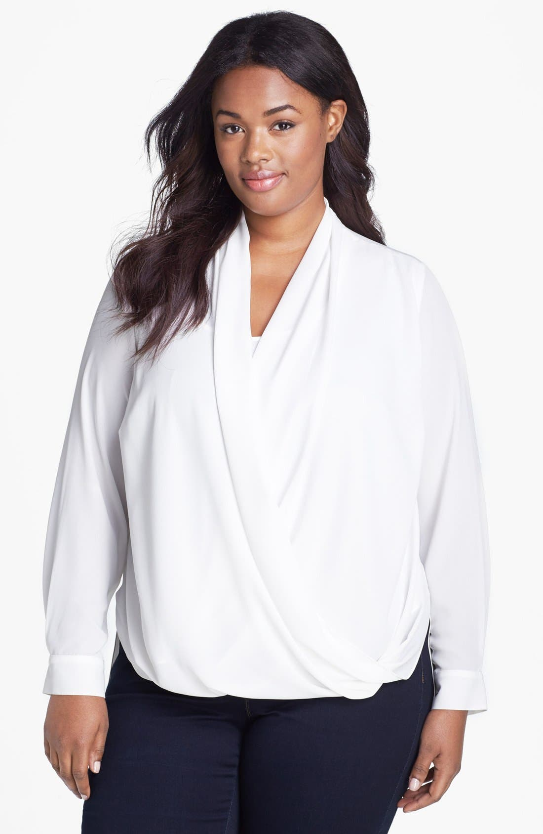 Alternate Image 1 Selected - Vince Camuto Drape Front Blouse (Plus Size)