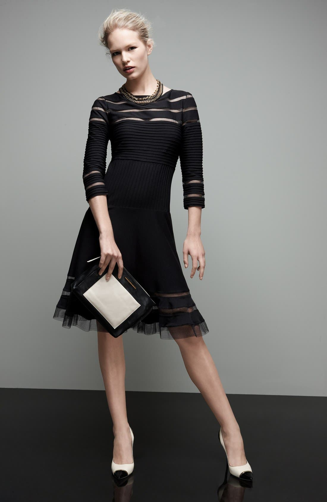 Alternate Image 4  - Tadashi Shoji Mesh Stripe Fit & Flare Dress (Regular & Petite)