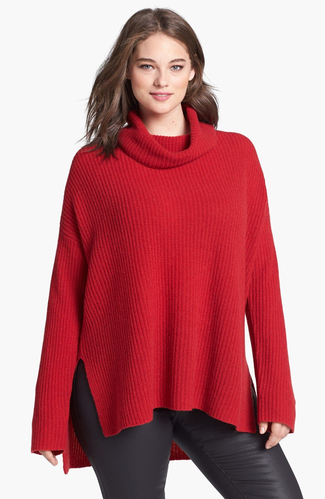 Alternate Image 1 Selected - Eileen Fisher Yak & Merino Turtleneck Poncho Sweater (Plus Size)