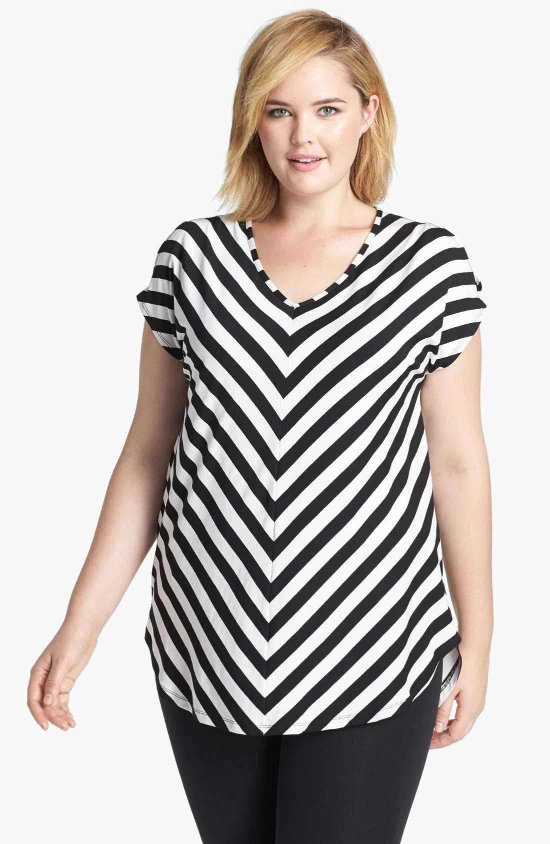 Main Image - Evans Chevron Stripe Top (Plus Size)