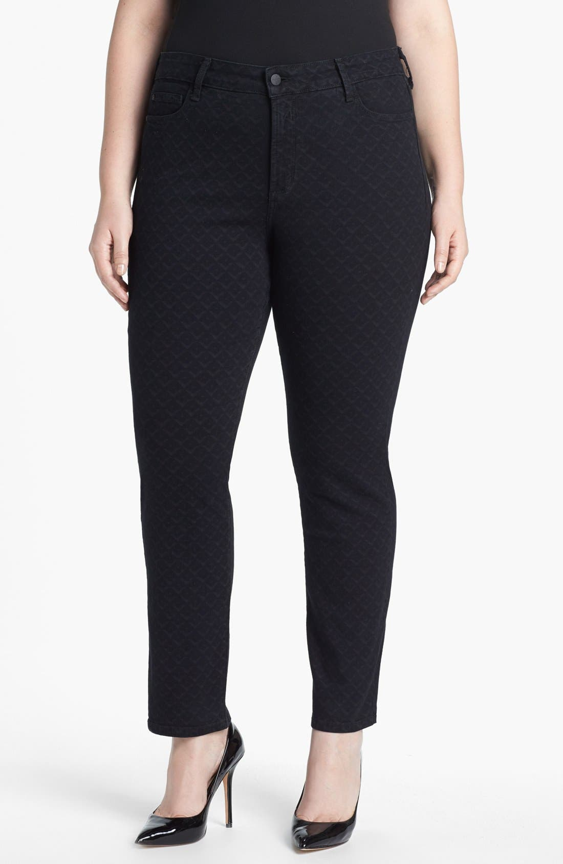 Alternate Image 1 Selected - NYDJ 'Sheri' Print Stretch Skinny Jeans (Plus Size)