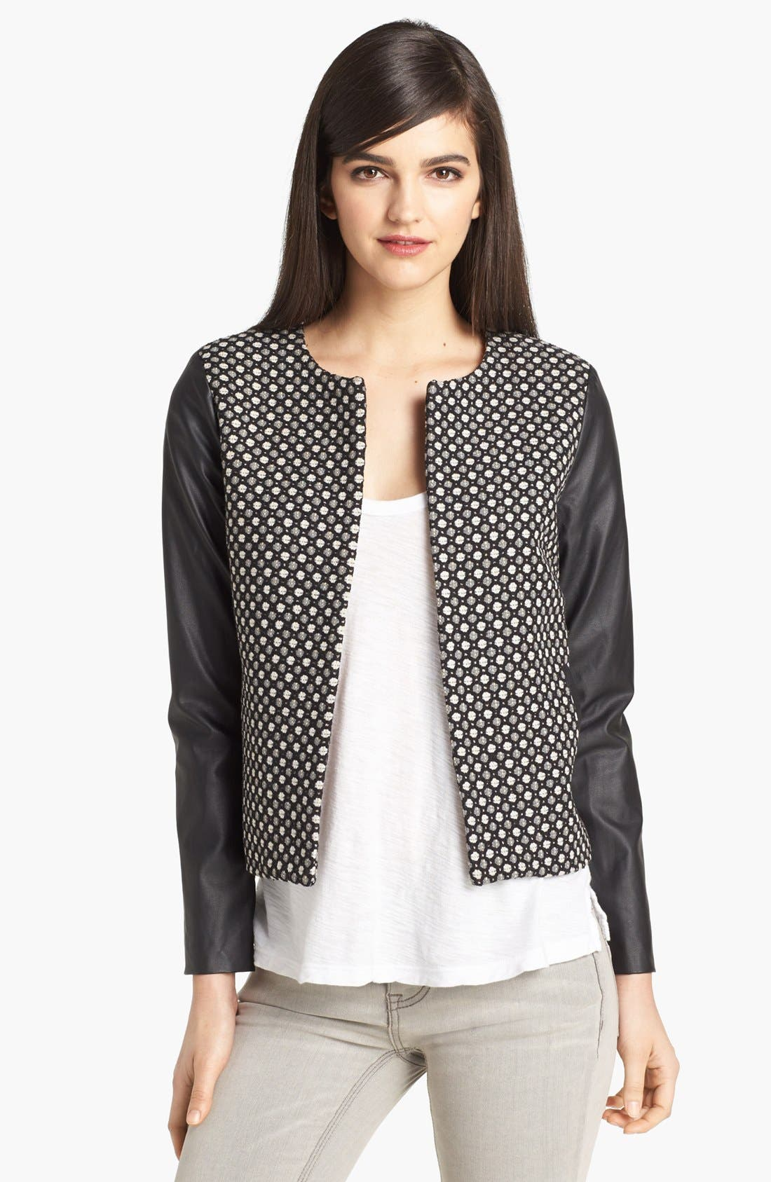 Alternate Image 1 Selected - Pure Sugar Faux Leather Sleeve Jacquard Jacket