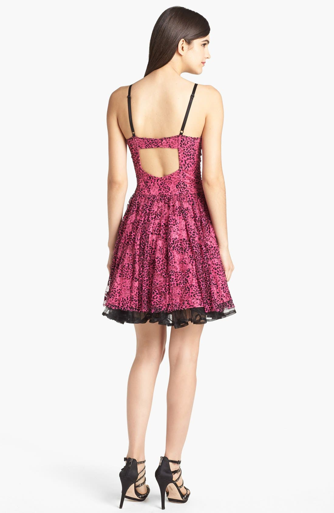 Alternate Image 2  - Betsey Johnson Print Mesh Lace Fit & Flare Dress