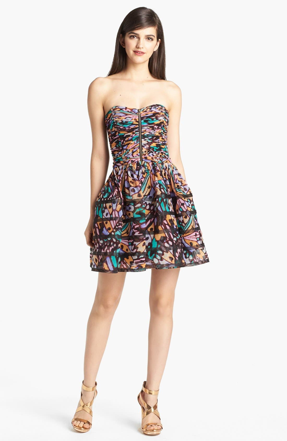 Alternate Image 1 Selected - Betsey Johnson Print Mesh Fit & Flare Dress