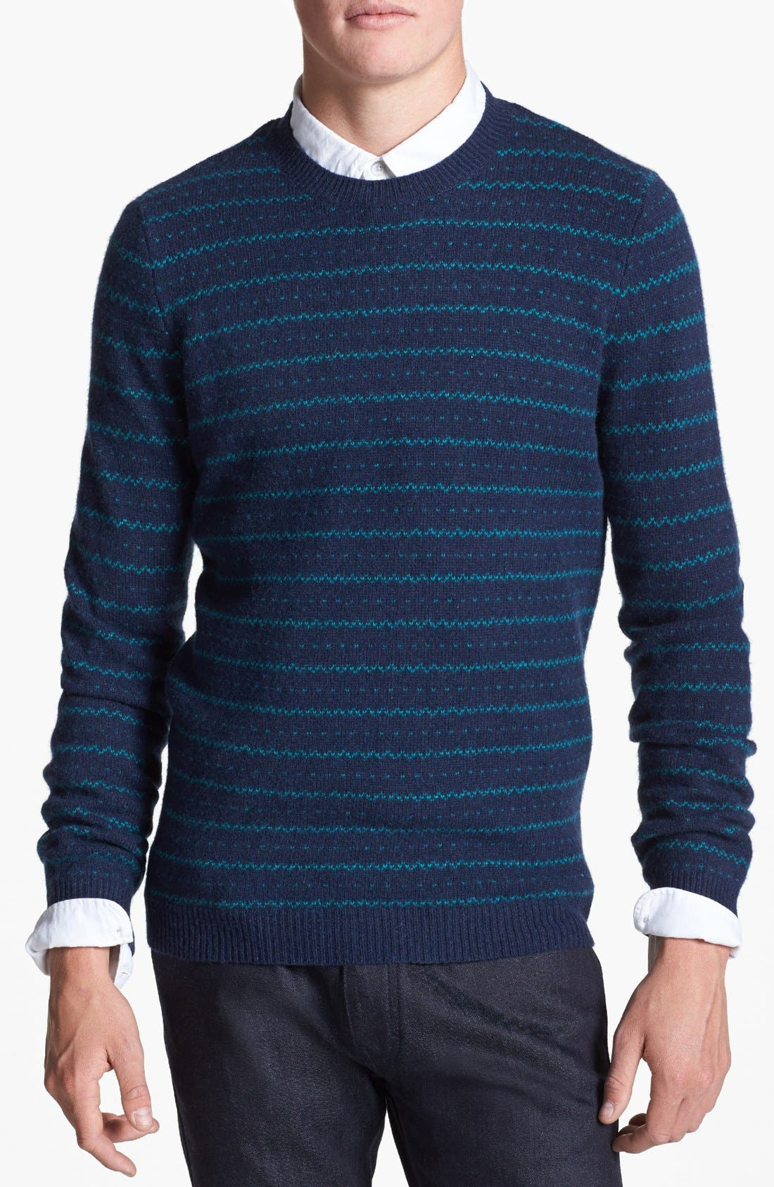 Alternate Image 1 Selected - Topman Stripe Wool Blend Crewneck Sweater