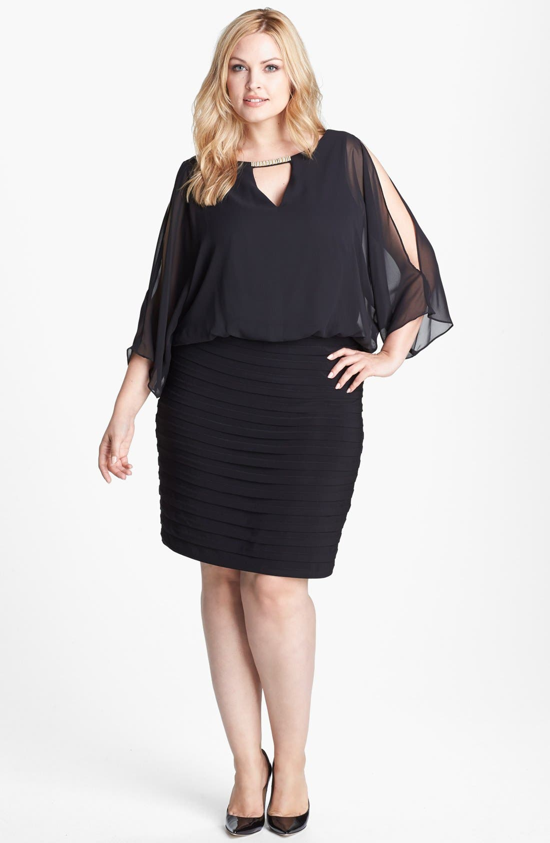 Alternate Image 1 Selected - Xscape Embellished Keyhole Mixed Media Blouson Dress (Plus Size)