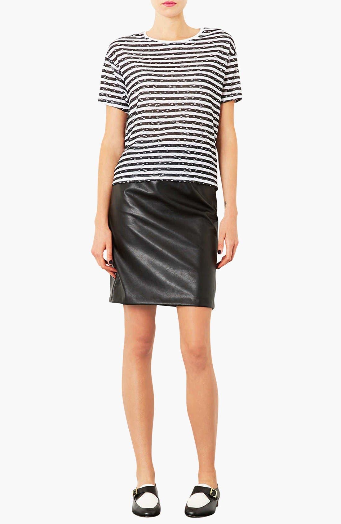 Alternate Image 4  - Topshop Elastic Waist Faux Leather Pencil Skirt