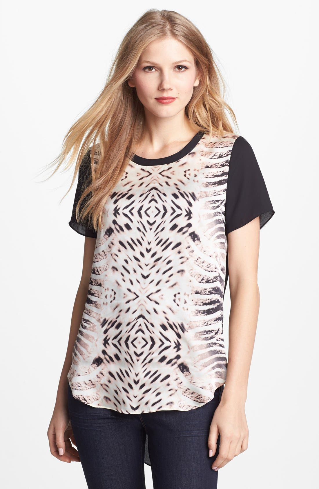 Alternate Image 1 Selected - Vince Camuto Animal Print Front Blouse