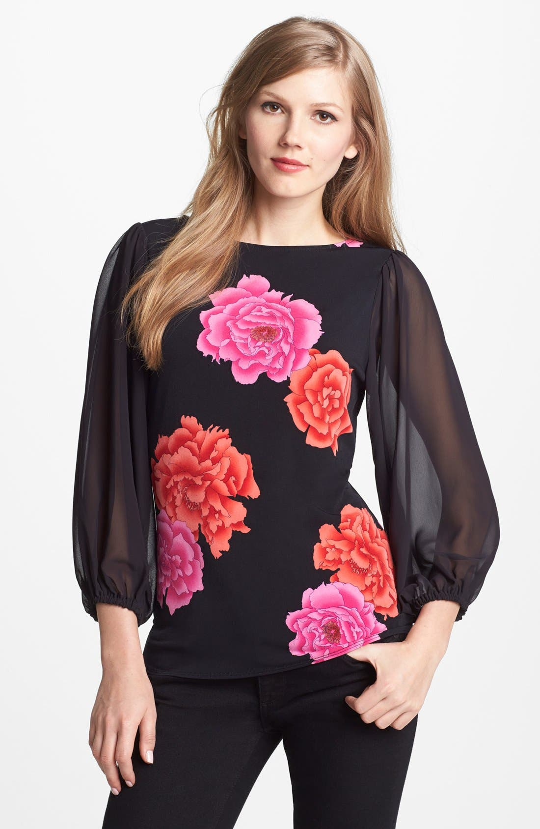 Alternate Image 1 Selected - Vince Camuto 'Peonies' Chiffon Sleeve Top