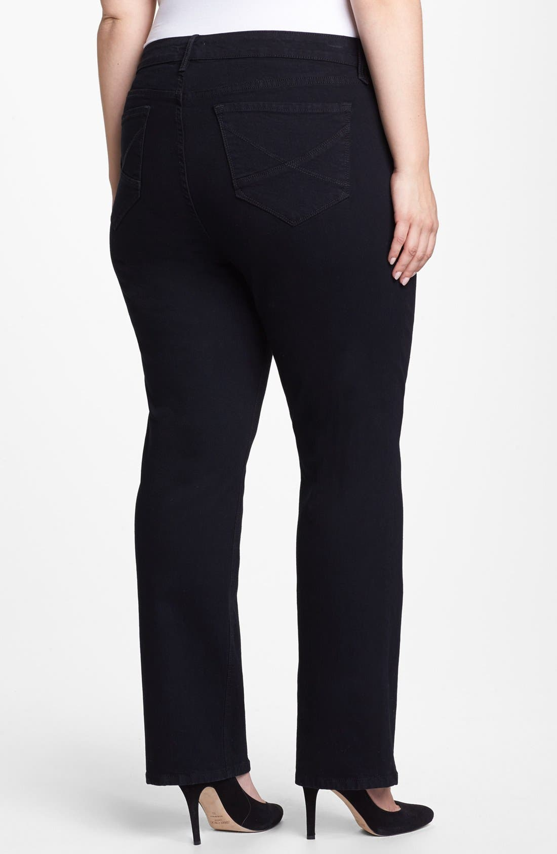 Alternate Image 2  - NYDJ 'Hayden' Embroidered Pocket Stretch Straight Leg Jeans (Black) (Petite Plus Size)