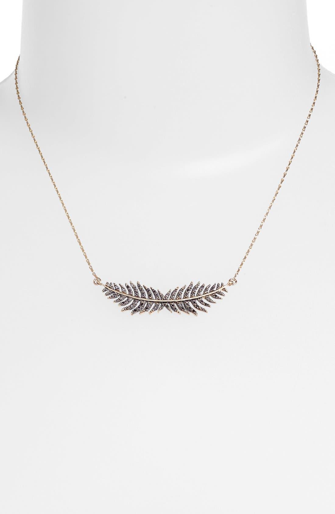 Main Image - Mizuki 'Wings of Desire' Black Diamond Feather Pendant Necklace