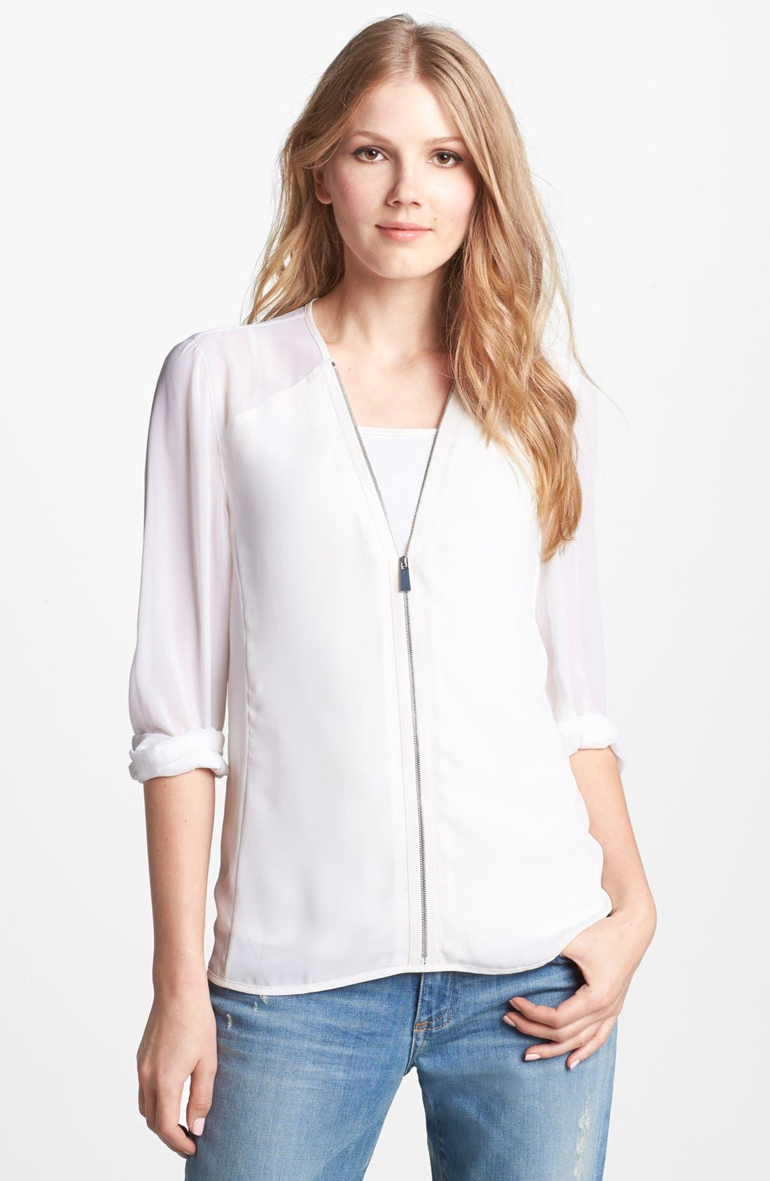 Alternate Image 1 Selected - Vince Camuto Zip Front Chiffon Sleeve Blouse
