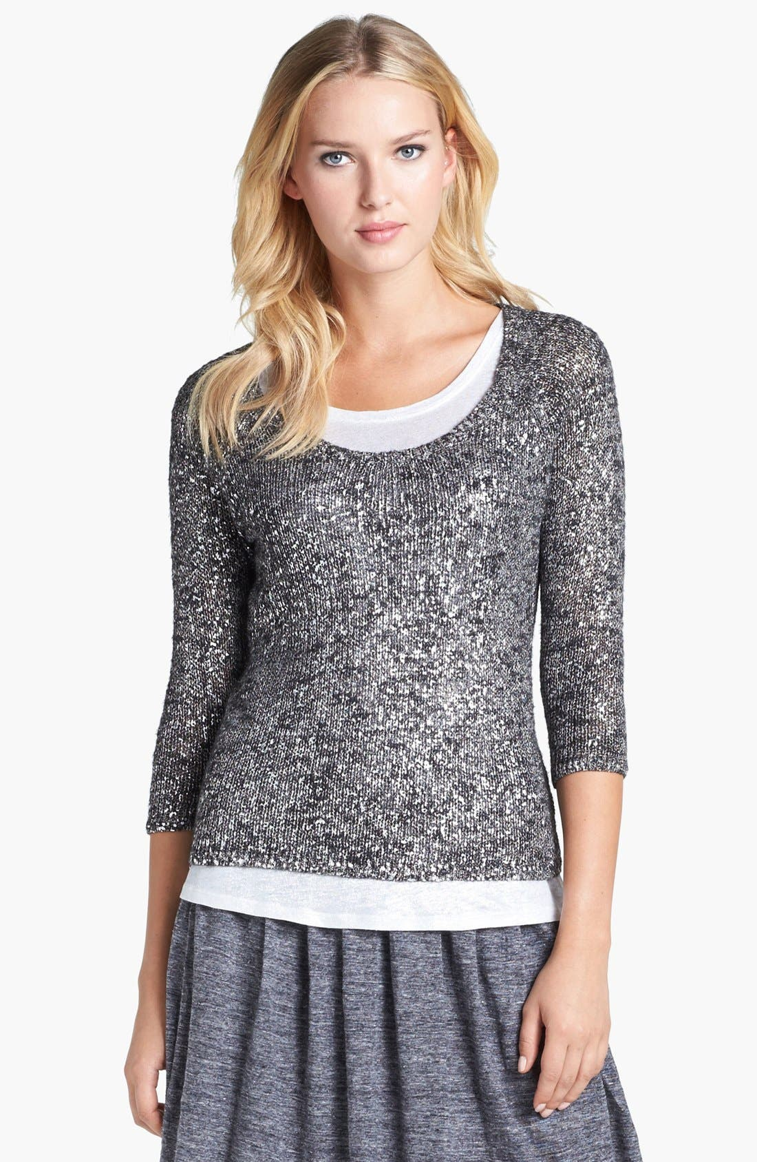 Main Image - Eileen Fisher Scoop Neck Shimmer Sweater