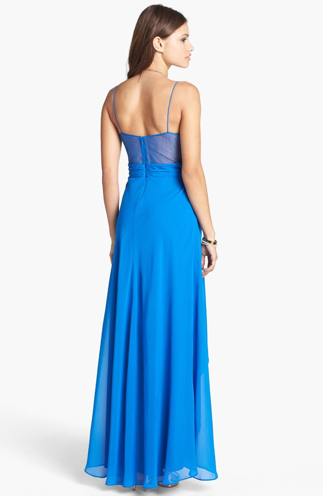 Alternate Image 2  - Hailey Logan Pleated Chiffon High/Low Gown (Juniors)