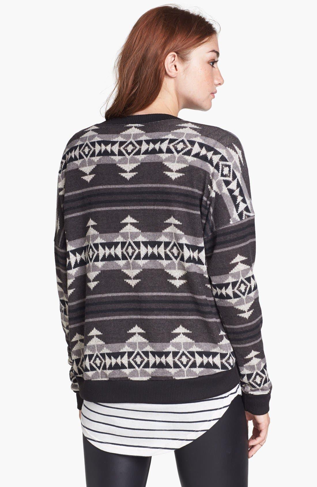 Alternate Image 2  - Painted Threads Geometric Pattern Sweatshirt (Juniors)