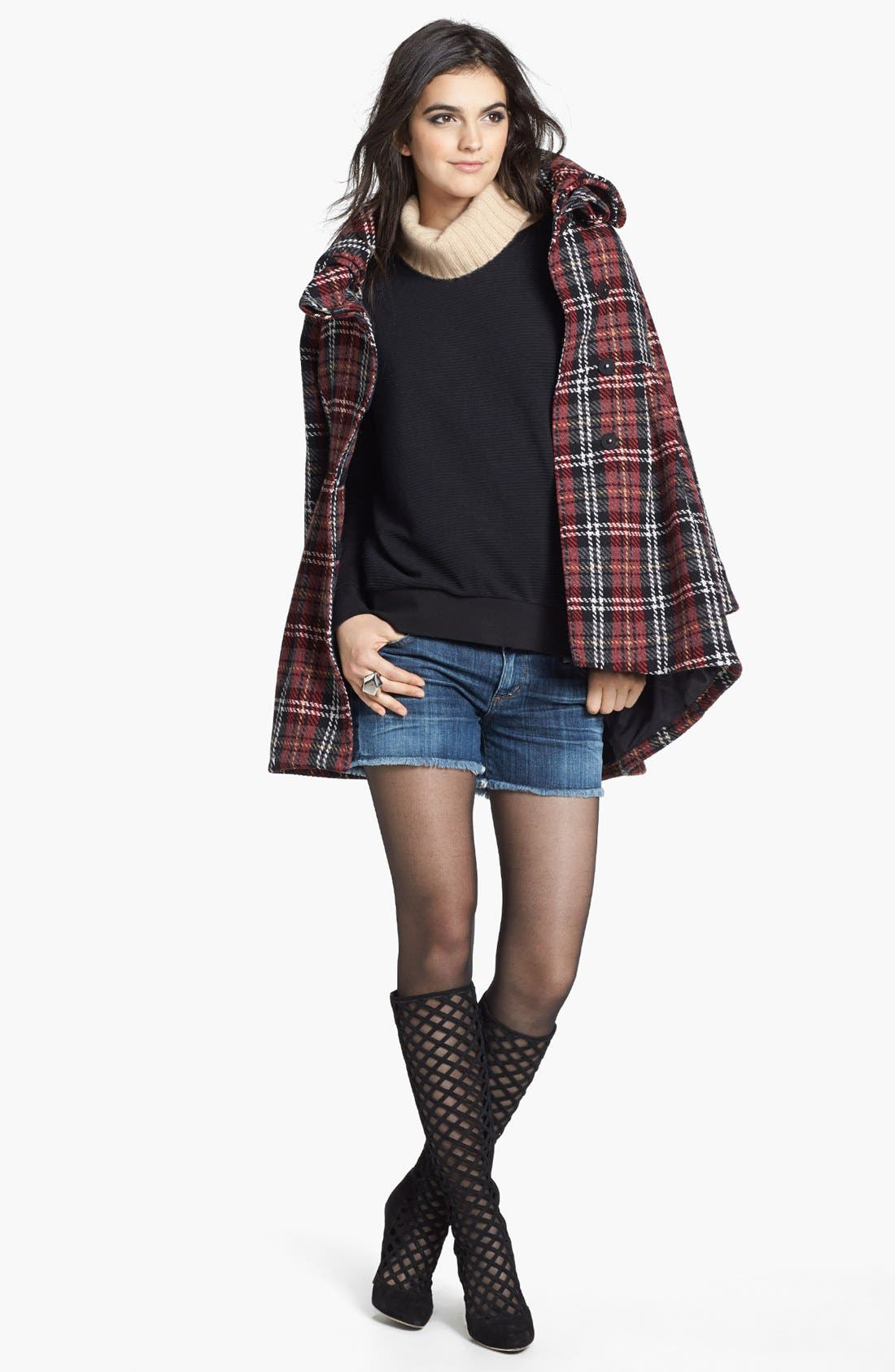 Alternate Image 4  - Mural Plaid Babydoll Coat