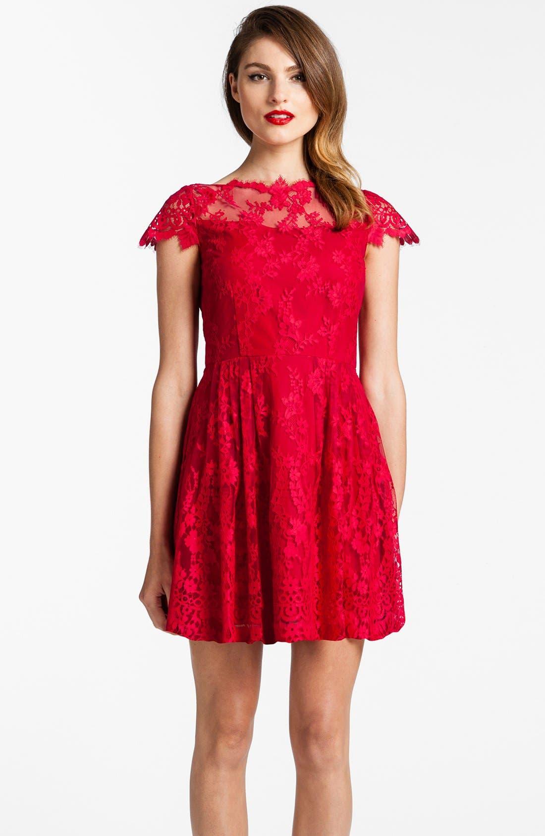 Alternate Image 1 Selected - Cynthia Steffe Illusion Yoke Lace Fit & Flare Dress