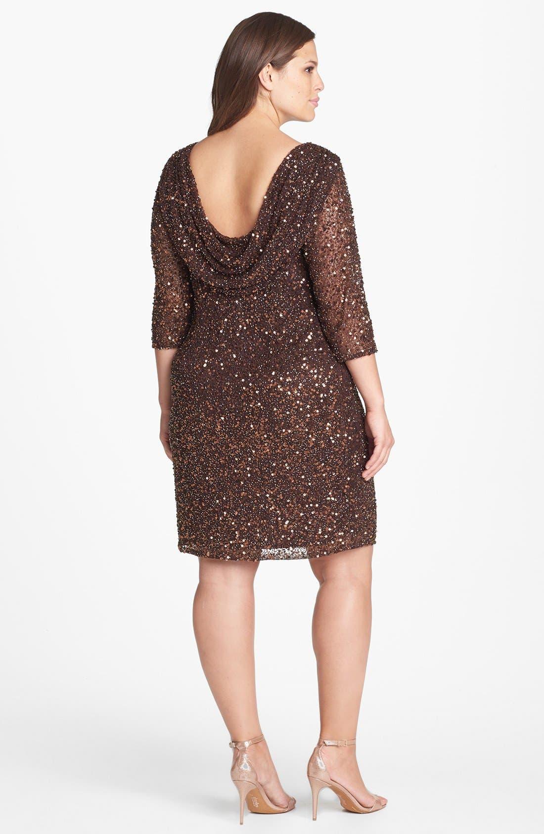 Alternate Image 2  - Pisarro Nights Draped Back Beaded Dress (Plus Size)