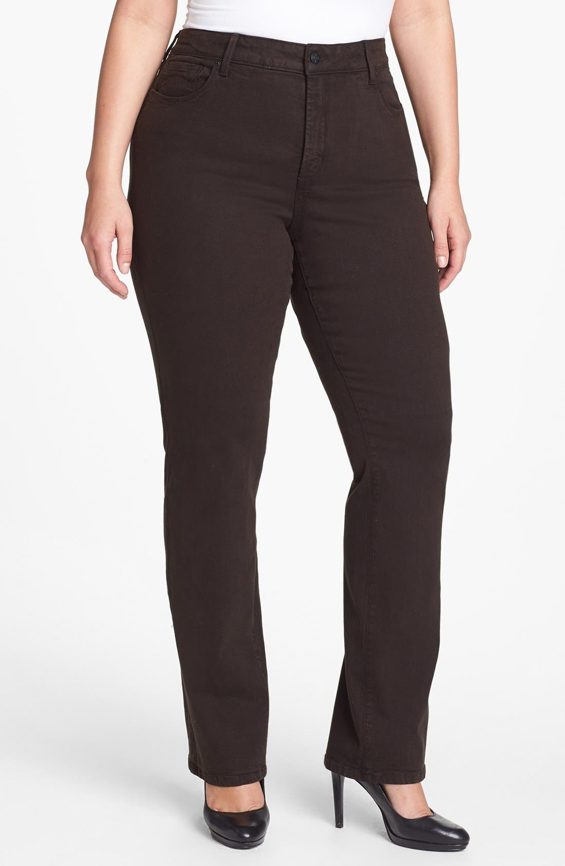 Main Image - NYDJ 'Marilyn' Colored Stretch Straight Jeans (Plus Size)
