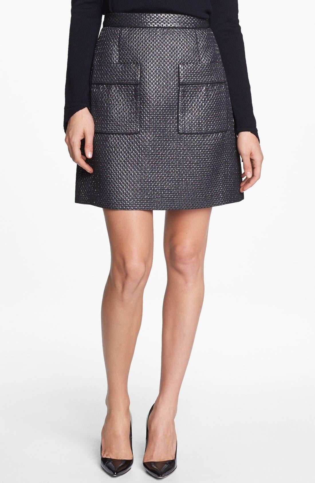 Main Image - Pink Tartan Metallic Jacquard Skirt